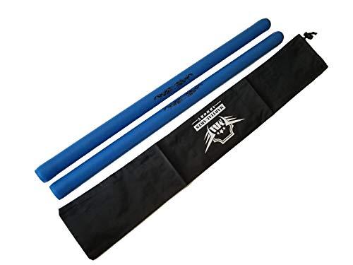 Foam Escrima Training Sticks with Free Armory Carry Bag Case - Pair (Blue)