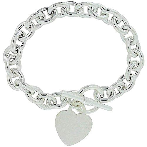 - The Olivia Collection TOC Sterling Silver 28-30 Gram Bracelet with Heart Charm and T-Bar Closure