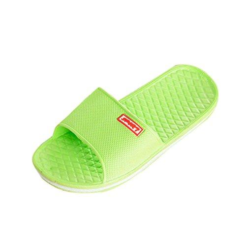 Transer® Damen Flach Slipper Bad Strand Dusche Gelb Grün Blau Pink EVA Hausschuhe Grün