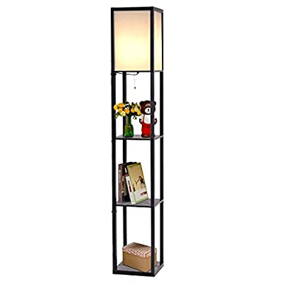 Costzon Shelf Floor Lamp w/ 2 Storage Shelves, 63 Inch Height, Switch on/off, ETL Approved, Linen Shade