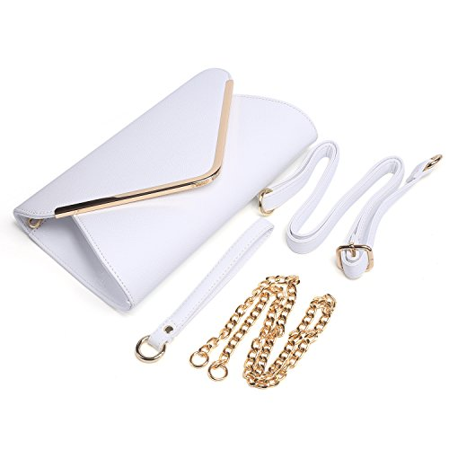 White Evening With Purse Strap Bag Clutch Envelope Faux Shouder Chain Leather Womens Handbag Wristlet TOqXw