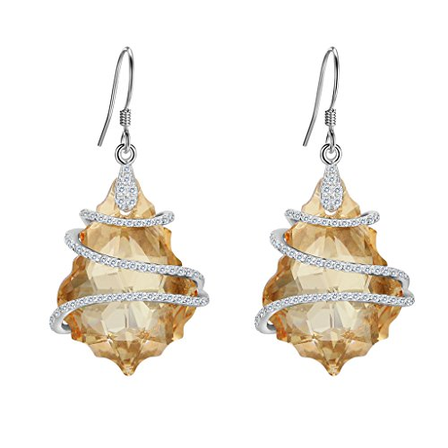 EVER FAITH 925 Sterling Silver CZ Baroque Dangle Earrings Champagne Adorned with Swarovski Crystals