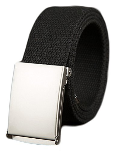 Ayli Unisex Tactical Casual Canvas Web Belt, Metal Buckle, Black and Silver, Fits Pant Sizes From 28