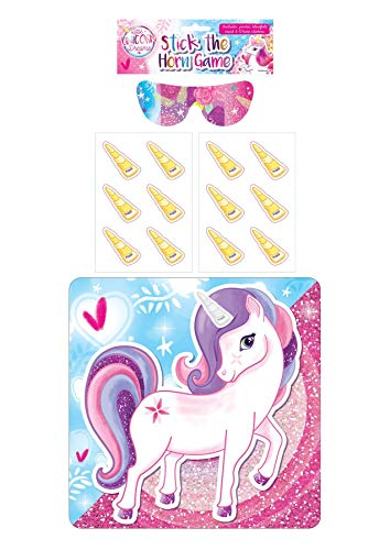 MA ONLINE Kids Pack of 14 Activity Party Game Childrens Stick The Dummy in The Baby Tiara and Pirate Eye Patch(Unicorn Horn One Size(14 Pcs) -