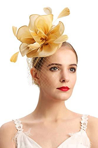 Cizoe Fascinators Headband for Women Tea Party Hat Kentucky Derby Wedding Flower Mesh Feathers Hair Clip(2-Gold)