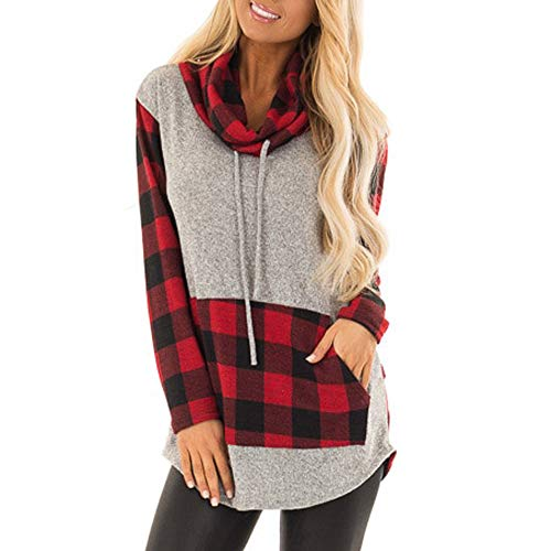 Sweatshirt,Women Long Sleeve Christmas Elk Print Plaid Pullover Blouse T-Shirt Tops (Large, Gray~2)