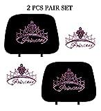 KAAA ALLBrand Princess Crystal Studded Bling Rhinestone Car Truck Seat Headrest Covers - Pair (Princess/Black)
