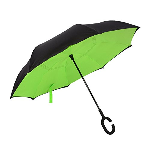Techcell Double Layer Inverted Umbrella Cars Reverse Umbrella,Windproof UV Protection Big Straight Umbrella for Car Rain Outdoor with C-Shaped Handle Travel Umbrella (Green)