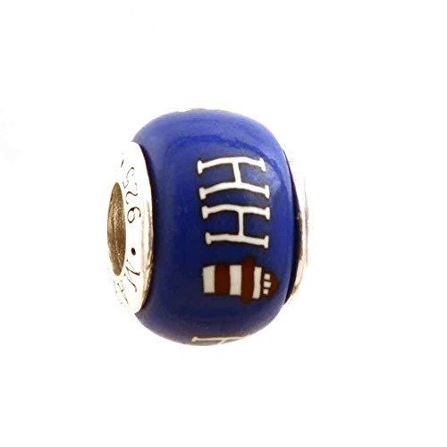 - HHI Hilton Head Island Lighthouse SC South Carolina Charm Bead on Tan Natural Leather Braided Bracelet Sterling Clasp