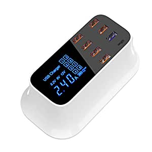 SHKY 5V 8A 8 Puertos USB Pantalla LCD multipuerto Puerto de ...