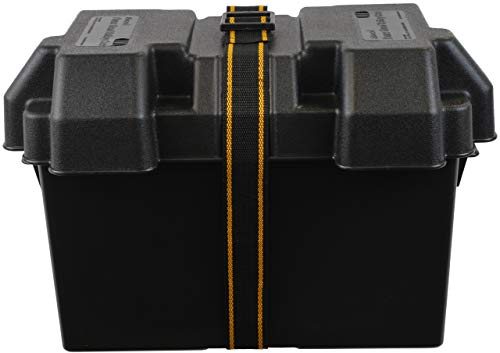 attwood 9067-1 Heavy-Duty Acid-Resistant Power Guard Series 27 Vented Marine Boat Battery Box, Black