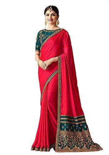 Indian Ethnic Bollywood Saree Party Wear Pakistani Designer Sari Wedding, Saree for Womens (Dark Pink)