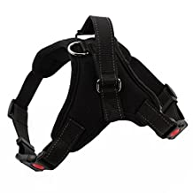 uxcell® Soft Adjustable Dog Vest Harness Padded With Handle,Reflective,Comfortable-Black,XL
