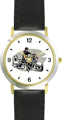 Motorcycle Police Officer or Policeman - WATCHBUDDY DELUXE TWO-TONE THEME WATCH - Arabic Numbers - Black Leather Strap-Size-Large ( Men's Size or Jumbo Women's Size )