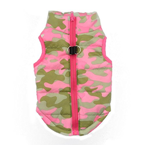Howstar Pet Camouflage Cold Weather Coat, Small Dog Vest Harness Puppy Winter Padded Outfit Warm Garment (M, Pink)