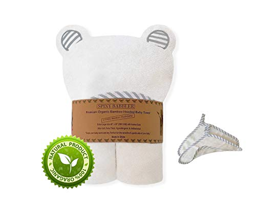 """Organic Bamboo Hooded Baby Bath Towel (40""""x28"""") With 2 Washcloths for Newborn Infants & Toddlers (Boys & Girls), Ultra Soft & Extra Thick (Grey)"""
