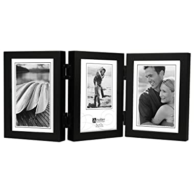 Malden International Designs Classic Concepts Vertical Black Wood Picture Frame, Holds Three 5 by 7-Inch Photos
