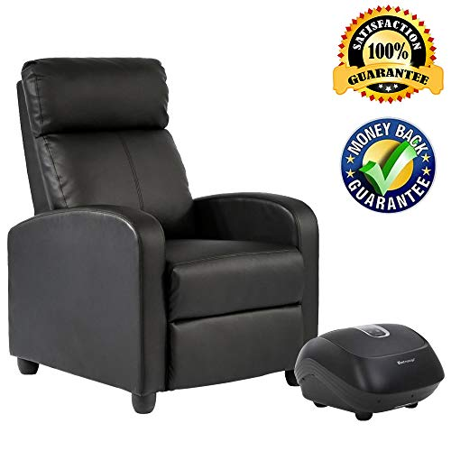Massage Recliner Chair Single Sofa Leather Chaise Counch Padded Seat Living Room Sofa Recliner with Foot Massage Home Theater Seating ()