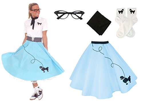 [Hip Hop 50s Shop Adult 4 Piece Poodle Skirt Costume Set Light Blue XSmall/Small] (Homemade Halloween Costumes For Adults Couples)