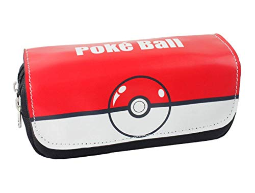 Thedmhom 1 Pcs New Cute Cartoon Anime Red Elf Ball Canvas Pencilcase Zipper Waterproof PU Poke Ball Pencil Case Holder Stationery Box Cosmetic Pouch Storage Bag Office School Student Kid Birthday Gift