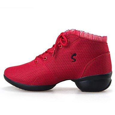 Botas de la mujer confort tela primavera verano otoño invierno al aire libre caminando Fashi vestir casualEn botas de tacón Chunky Polka Dot1en rojo y negro-1 Black