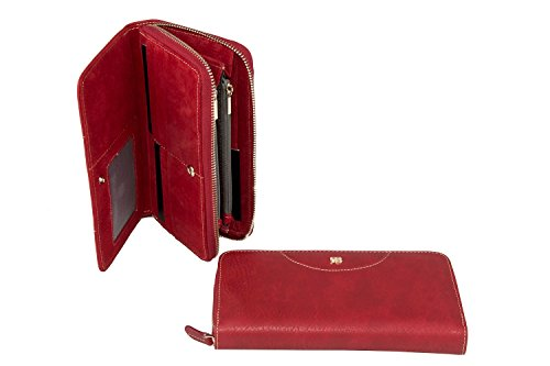 Cartera mujer RENATO BALESTRA rojo modelo compacto con zip A4155