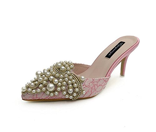 high Elegant Toe Pointed Pink c Imitation Slippers Pearl Heel Stilettos Sandals excellent wx81qHIx