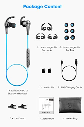 Large Product Image of SoundPEATS Bluetooth Headphones in Ear Wireless Earbuds 4.1 Magnetic Sweatproof Stereo Bluetooth Earphones for Sports with Mic (Upgraded 7 Hours Play Time, Secure Fit, Noise Cancelling) - Blue