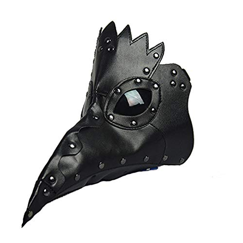 Punk Gothic Plague Long Beak Mask Doctor Masquerade Adult Mens Womens Cosplay Bird Beak Mask Halloween (Black)]()