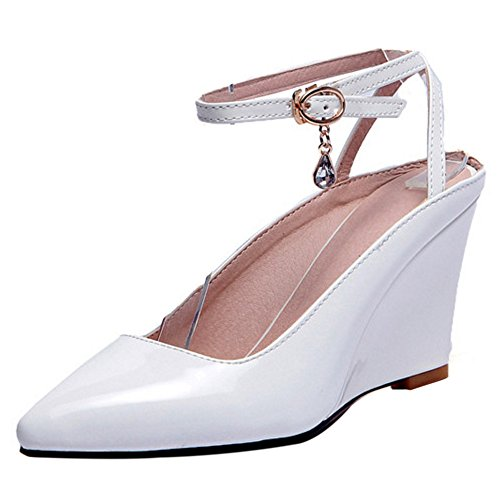 COOLCEPT Women Fashion Ankle Strap Sandals Closed Toe Wedge Heel Slingback Shoes White rzlH23