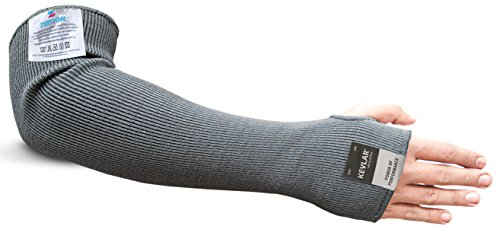 Kevlar Cut & Heat Resistant Designer Arm Sleeves with thumb hole - 18 inches by Zeeqon (Grey)