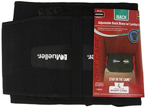 Mueller Adjustable Lumbar Back Brace, Black, Plus Size, 1-Count Package