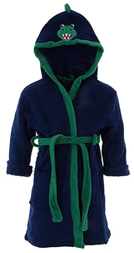 American Hero Little Boys' Blue Dinosaur Hooded Bathrobe 7
