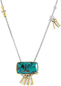 "Silpada 'Turquoise Burst' Compressed Turquoise Pendant Necklace in Sterling Silver and Brass, 16"" + 2"" Extender"