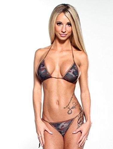 Dark Camouflage Sexy Scrunch Butt Bikini 2pc Cheeky Pucker Bottom w Brown String