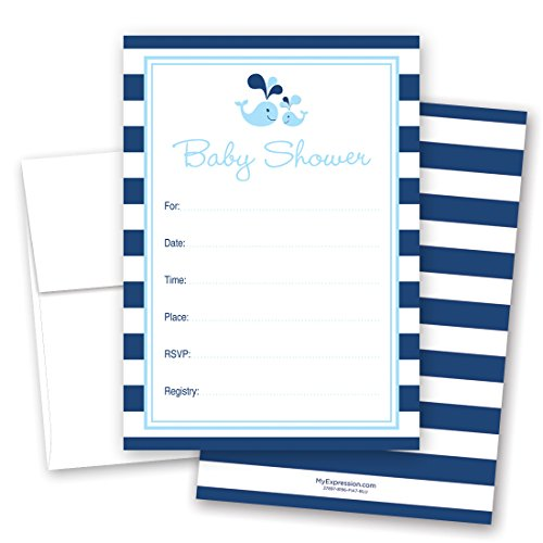 24 Cnt Blue Whale Splash Fill-in Baby Shower Fill-in ()