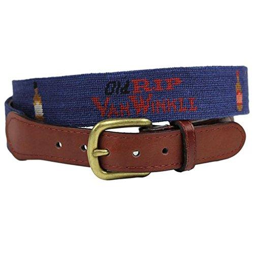 Old Rip Van Winkle (Pappy Van Winkle) Needlepoint Belt in Blue by Smathers & Branson - Van Pappy