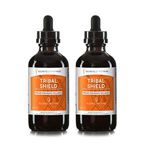 (Tribal Shield Alcohol Extract, Tincture, Astragalus, Echinacea, Maca, Calendula, Reishi, Schisandra, Elderberry. Immune Endurance Wellbeing (2x4 fl oz))
