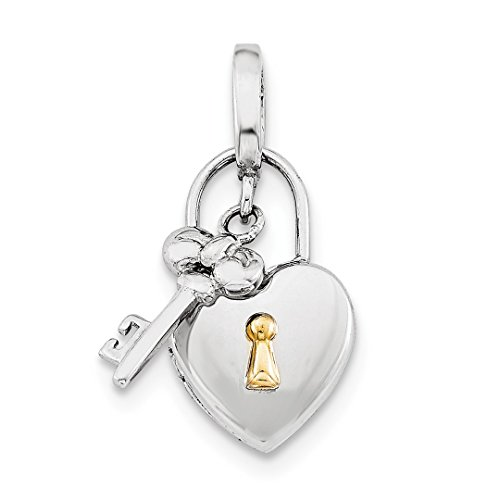 10mm Heart Lock Key Hinge Photo Pendant Charm Locket Chain Necklace That Holds Pictures Fine Jewelry For Women Gift Set ()