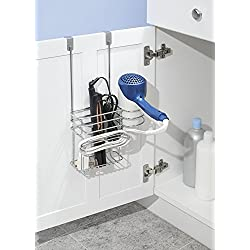 mDesign Over Door Bathroom Hair Care & Styling Tool Organizer Storage Basket for Hair Dryer, Flat Iron, Curling Wand, Hair Straighteners, Brushes - Hang Inside or Outside Cabinet Doors, 2 Sections, Ch