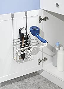mDesign Over-Cabinet Hair Care Tools Holder for Hair Dryer, Flat Iron, Curling Wand, Straightener - Chrome