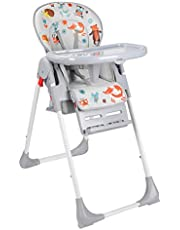 LIVINGbasics 3-in-1 Foldable Baby High Chair, Dining Booster Seat with Storage Basket, 6-Position Adjustable Seat Height, 3-Position Adjustable Food Tray