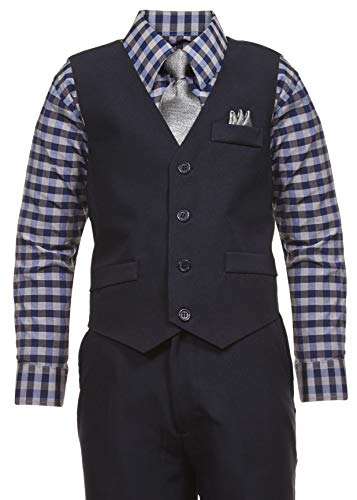 Vittorino Boys 4 Piece Holiday Suit Set with Vest Shirt Tie Pants and Hankerchief, Blue/Grey B, 8