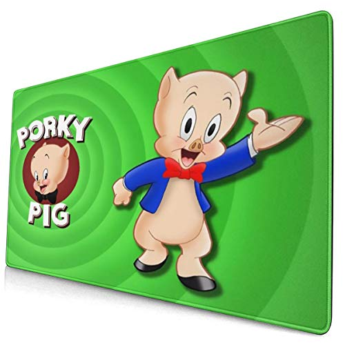 Porky Pig 15.8x29.5 in Waterproof Customized Mouse Pad,Exquisite Oversize Non-Slip Rubber Mouse Mat