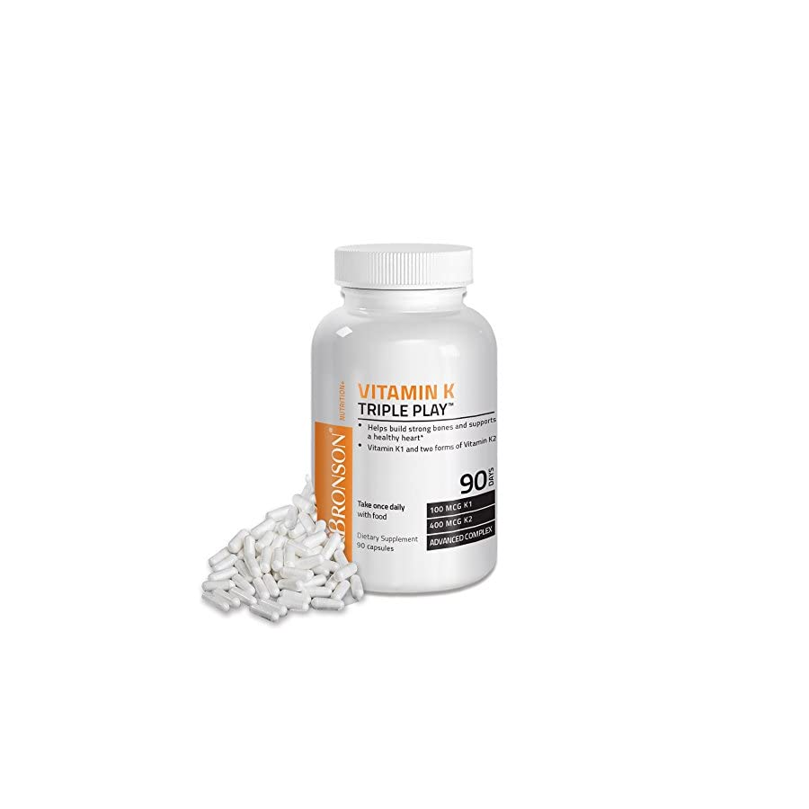 Bronson Vitamin K Triple Play 550mcg (Vitamin K2 MK7 / Vitamin K2 MK4 / Vitamin K1)