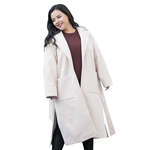 Longue Hiver Blouson Couleurs De Blanc Manteau Niseng Laine Femme Trench Solides Mélange Revers Loose Coat q1Ot05