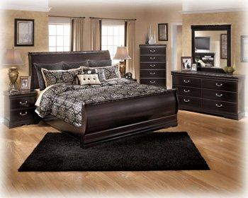 Merlot Queen Sleigh Bed - Esmarelda Queen Bedroom Set with Sleigh Bed Dresser Mirror and Nightstand in Dark Merlot