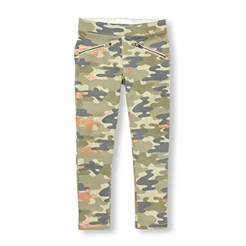 The Children's Place Girls' Big Glitter CAMO Jegging, Green, 8 by The Children's Place