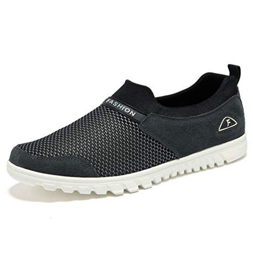 Breathable Male Shoes Jogging Leisure Mens Grigio Scuro Walking Qianliuk Lightweight Shoes Driving Mesh 4qBCXxWZ