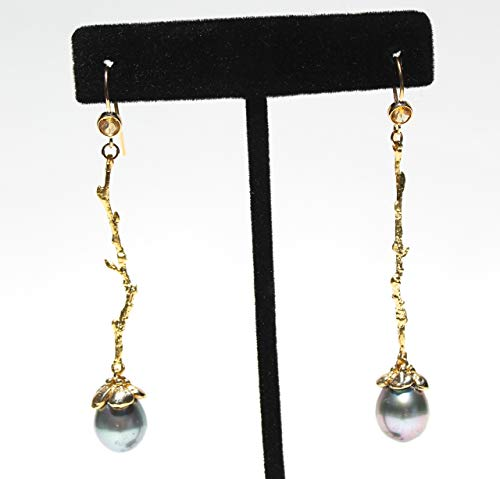 TAHITIAN pearl earrings in solid 14K gold with natural citrines and solid 14K gold flower caps
